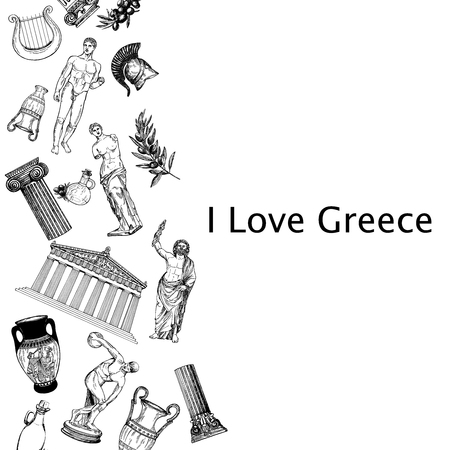 Hand drawn sketch style Greek themed objects isolated on white background. Vector illustration. Vettoriali