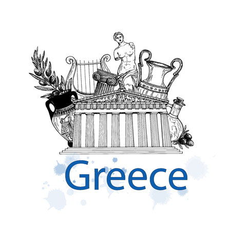 Set of hand drawn sketch style Greek themed isolated objects. Vector illustration.
