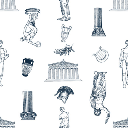 Seamless pattern of hand drawn sketch style Greek themed objects isolated on white background. Vector illustration.