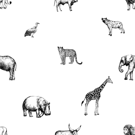 Pattern of hand drawn sketch style animals Vettoriali
