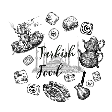 Set of hand drawn sketch style Turkish delight, food, tea and coffee isolated on white background. Vector illustration.