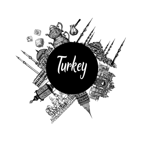 Composition of hand drawn sketch style Turkey related objects isolated on white background. Vector illustration.