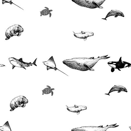 Naadloos patroon van hand getrokken zeedieren van de schetsstijl die op witte achtergrond worden geïsoleerd. Vector illustratie. Vector Illustratie