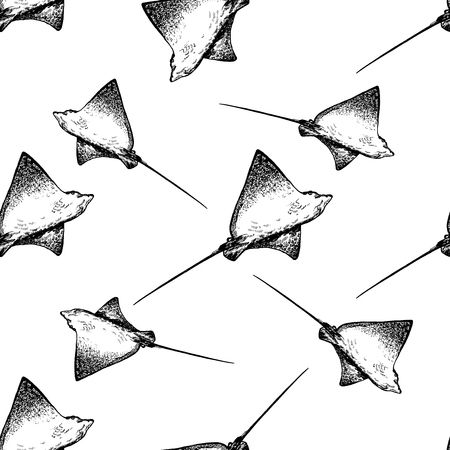 Seamless pattern of hand drawn sketch style rays isolated on white background. Vector illustration.