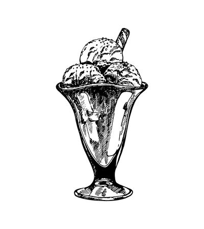 Hand drawn sketch style ice cream isolated on white background. Vector illustration.