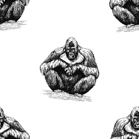 Seamless pattern of hand drawn sketch style gorillas isolated on white background. Vector illustration.  イラスト・ベクター素材