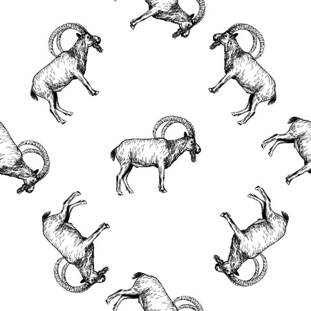 Seamless pattern of hand drawn sketch style mountain goats isolated on white background. Vector illustration. Vectores