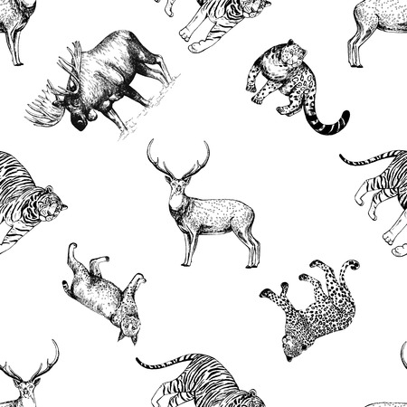 Seamless pattern of hand drawn sketch style ungulates and big cats isolated on white background. Vector illustration.