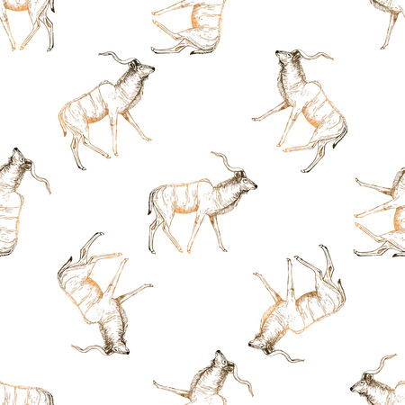 Seamless pattern of hand drawn sketch style lesser kudu antelope isolated on white background. Vector illustration.