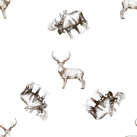 Seamless pattern of hand drawn sketch style moose and deer isolated on white background. Vector illustration. Imagens - 110386810
