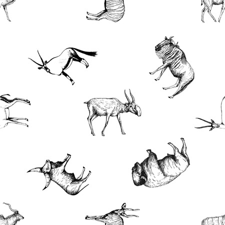 Seamless pattern of hand drawn sketch style ungulates isolated on white background. Vector illustration. Ilustração