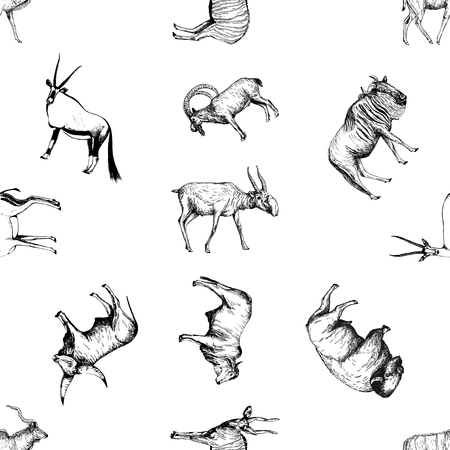 Seamless pattern of hand drawn sketch style ungulates isolated on white background. Vector illustration.  イラスト・ベクター素材