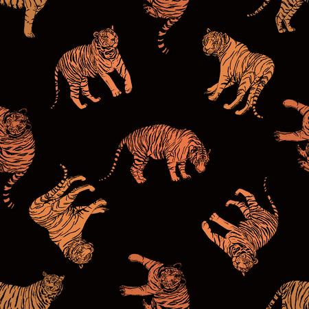 Patrón sin fisuras de tigres de estilo boceto dibujados a mano. Ilustración de vector aislado sobre fondo negro.