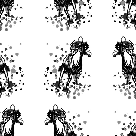 Seamless pattern of hand drawn sketch style jockeys on a horses isolated on white background. Vector illustration.