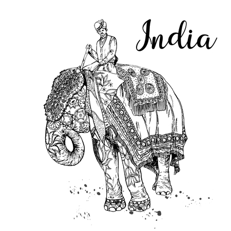 Hand drawn sketch style elephant with an Indian man sitting on it isolated on white background. Vector illustration.