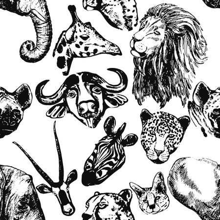 Seamless pattern of hand drawn sketch style African animals isolated on white background. Vector illustration. Illustration