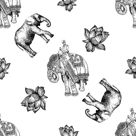 Seamless pattern of hand drawn sketch style elephant with an Indian man sitting on it isolated on white background. Vector illustration.