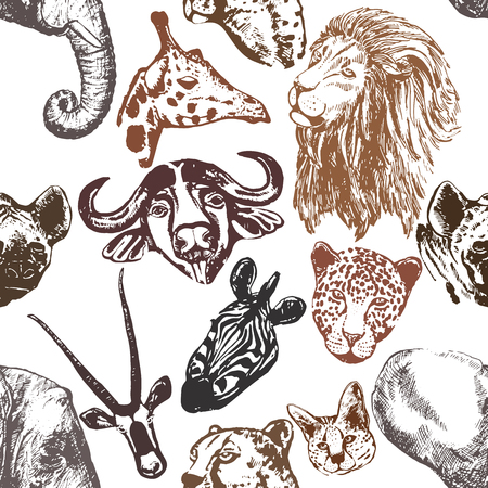 Seamless pattern of colorful hand drawn sketch style African animals isolated on white background. Vector illustration. Illustration