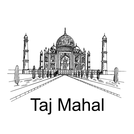 Hand drawn sketch style Taj Mahal mausoleum isolated on white background. Vector illustration.