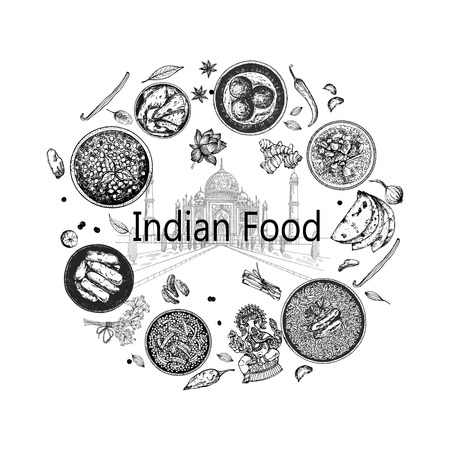 Hand drawn sketch style Indian food. Isolated vector illustration.