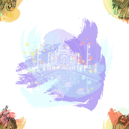 Seamless pattern of hand drawn sketch style Taj Mahal and elephant with an Indian man sitting on it isolated on white background. Vector illustration. Ilustração