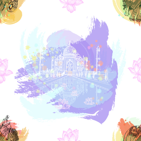 Seamless pattern of hand drawn sketch style Taj Mahal and elephant with an Indian man sitting on it isolated on white background. Vector illustration. Imagens - 116798607