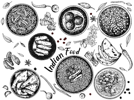 Hand drawn sketch style Indian food isolated on white background. Vector illustration. Stock Illustratie