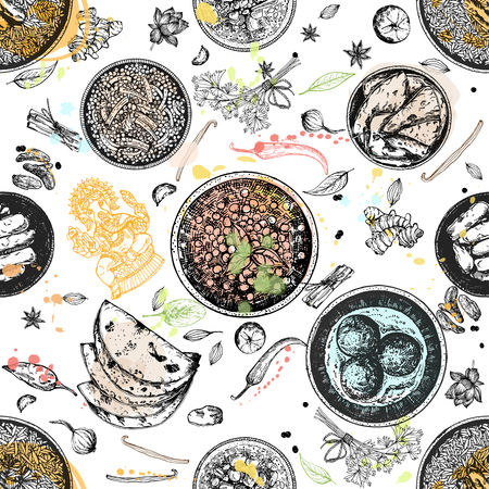 Seamless pattern of hand drawn sketch style Indian food isolated on white background. Vector illustration. Illustration