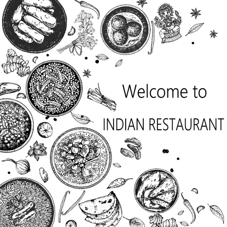 Hand drawn sketch style Indian food. Vector illustration.