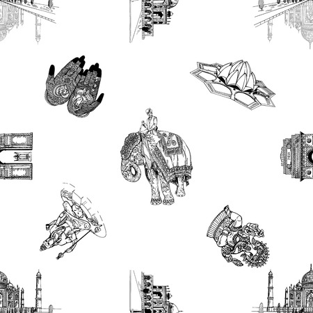 Seamless pattern of hand drawn sketch style India themed objects isolated on white background. Vector illustration.