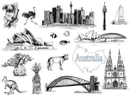 Ensemble d'objets sur le thème de l'Australie de style croquis dessinés à la main isolés sur fond blanc. Illustration vectorielle. Vecteurs