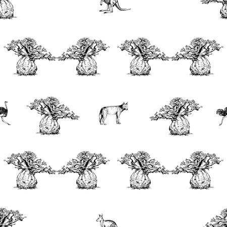 Seamless pattern of hand drawn sketch style baobab trees, dingo dogs, ostrich and kangaroo isolated on white background. Vector illustration. Illustration
