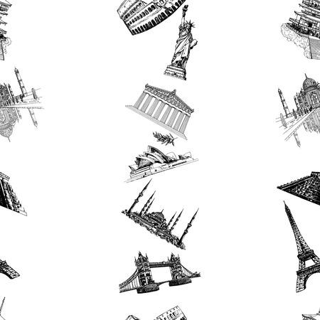 Nahtloses Muster der handgezeichneten Skizzenart berühmte Sehenswürdigkeiten und Sehenswürdigkeiten isoliert auf weißem Hintergrund. Vektor-Illustration.