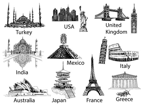 Big set of hand drawn sketch style famous landmarks and sights isolated on white background. Vector illustration.