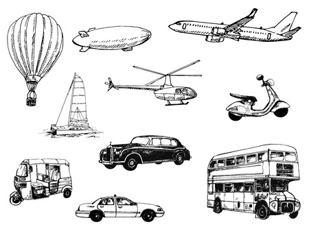 Set of hand drawn sketch style different types of transport isolated on white background. Vector illustration. Ilustração