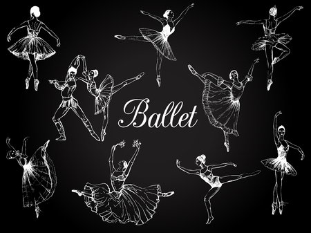 Big set of hand drawn sketch style abstract ballet dancers isolated on black background. Vector illustration. Vettoriali