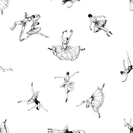 Seamless pattern of hand drawn sketch style abstract ballet dancers isolated on white background. Vector illustration. Иллюстрация