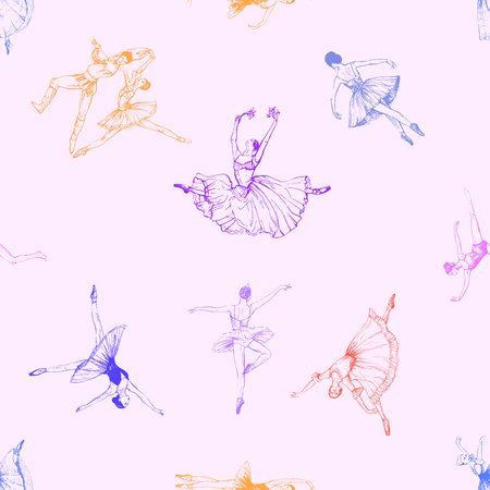 Seamless pattern of hand drawn sketch style abstract ballet dancers isolated on color background. Vector illustration.