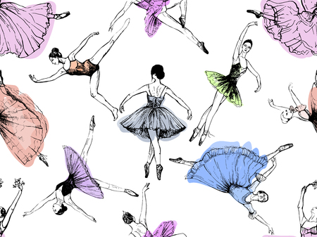 Seamless pattern of hand drawn sketch style abstract ballet dancers isolated on white background. Vector illustration. Illustration