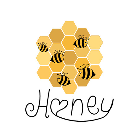 Composition of hand drawn cartoon style bees with honeycombs. Vector illustration. Иллюстрация