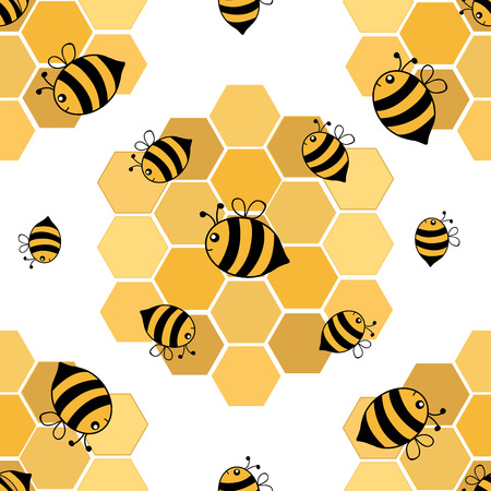 Seamless pattern of hand drawn cartoon style bees with honeycombs. Vector illustration.