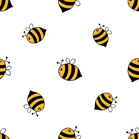 Seamless pattern of hand drawn cartoon style bees isolated on white background. Vector illustration.