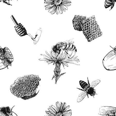 Seamless pattern of hand drawn sketch style beekeeping themed objects isolated on white background. Vector illustration.