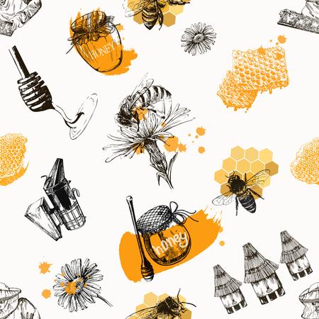 Modèle sans couture d'objets sur le thème de l'apiculture de style croquis dessinés à la main isolés sur fond blanc. Illustration vectorielle. Vecteurs