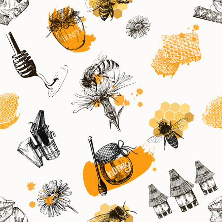 Seamless pattern of hand drawn sketch style beekeeping themed objects isolated on white background. Vector illustration. Illustration