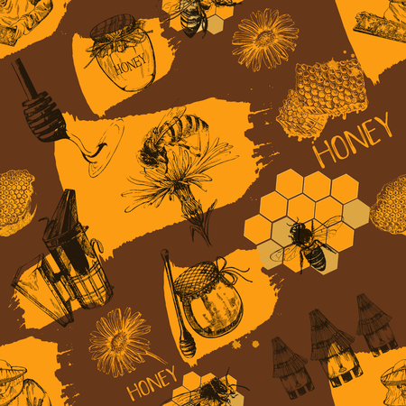 Seamless pattern of hand drawn sketch style beekeeping themed objects. Vector illustration.