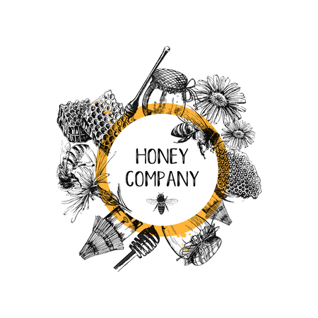 Composition of hand drawn sketch style beekeeping themed objects. Vector illustration. Иллюстрация