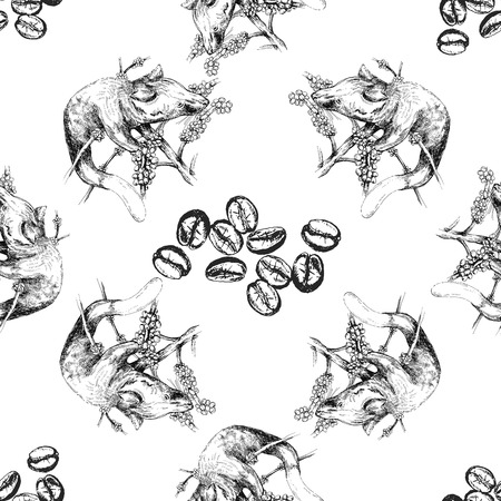 Seamless pattern of hand drawn sketch style civet isolated on white background. Vector illustration.