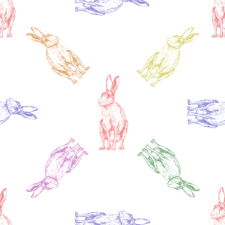 Seamless pattern of hand drawn sketch style hares isolated on white background. Vector illustration.