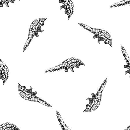 Seamless pattern of hand drawn sketch style pangolins isolated on white background. Vector illustration. Çizim